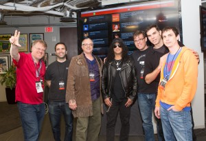 SLASH poses with the creators of SLASH TV, winners of the SLASHATHON at SXSW 2014. (Photo Credit: Mario Villeda)