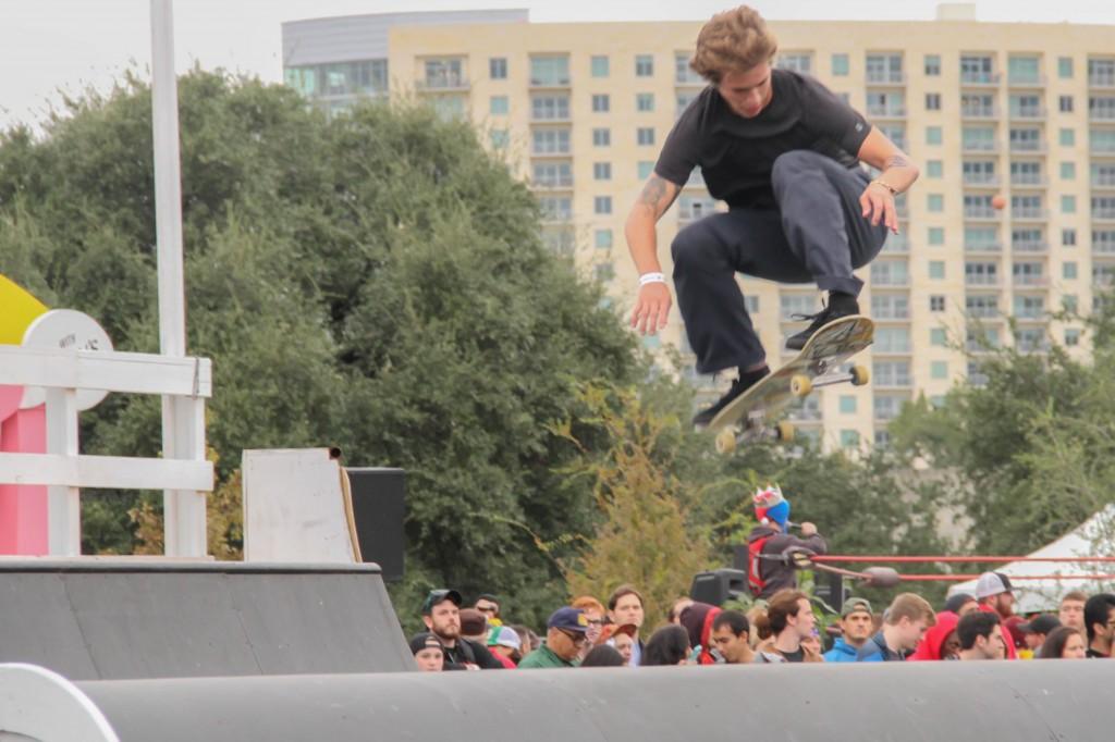 """Skateboarders at Fun Fun Fun Fest's """"Green"""" stage."""