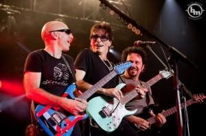 Luke with Satriani and Vai, 2012.