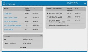Stay with me credits from ascap